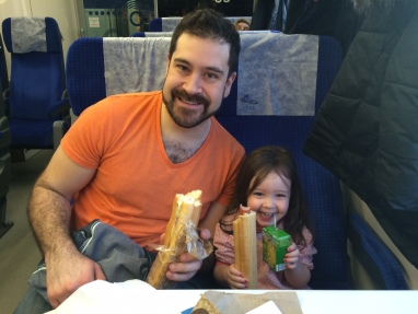 Josh and Nora on fast train