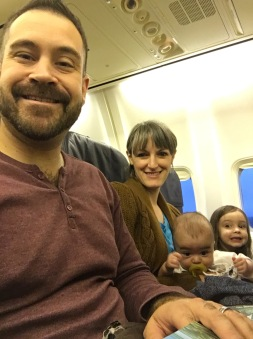 Baldonado family on airplane