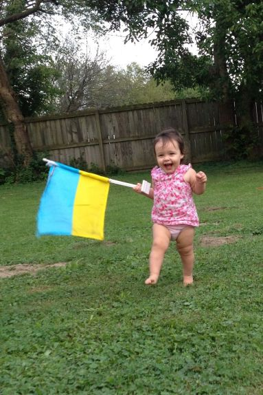 Nora with Ukrainian flag